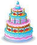 Decorated birthday cake 1 - vector illustration. Stock Photo - Royalty-Free, Artist: clairev                       , Code: 400-06073739