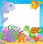 Frame with underwater animals 1 - vector illustration.