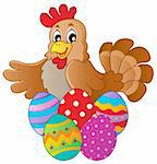 Hen with various Easter eggs - vector illustration. Stock Photo - Royalty-Free, Artist: clairev                       , Code: 400-06073753