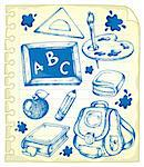 Notepad page with school drawings 1 - vector illustration. Stock Photo - Royalty-Free, Artist: clairev                       , Code: 400-06073756
