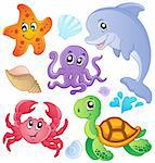 Sea fishes and animals collection 3 - vector illustration. Stock Photo - Royalty-Free, Artist: clairev                       , Code: 400-06073763