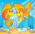 Two cute goldfishes - vector illustration. Stock Photo - Royalty-Free, Artist: clairev                       , Code: 400-06073765