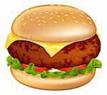 Illustration of a tasty looking classic beef cheeseburger with lettuce, tomato and onion