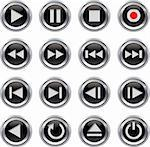 Metallic and black glossy multimedia control button/icon set. Vector illustration Stock Photo - Royalty-Free, Artist: gorgrigo                      , Code: 400-06073871