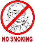 No smoking sign with illustration. Stock Photo - Royalty-Free, Artist: ntrifunovic, Code: 400-06073884