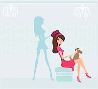 Vector illustration of the beautiful woman in hairdressing salon Stock Photo - Royalty-Freenull, Code: 400-06074220