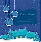 Christmas night in the village card