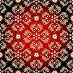 Seamless red-black-yellow pattern with vintage flowers (vector) Stock Photo - Royalty-Free, Artist: OlgaDrozd                     , Code: 400-06074351