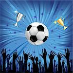 Soccer ball and champion cup for football sport with fan hands silhouettes. Vector illustration. Element for design. Stock Photo - Royalty-Free, Artist: svetap                        , Code: 400-06074476