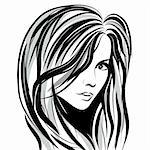 Beauty girl face sketch, woman face vector portrait. Hair wave. Stock Photo - Royalty-Free, Artist: svetap                        , Code: 400-06074479