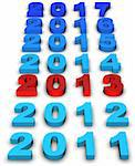 2013 new year modeled with tridimensional numbers Stock Photo - Royalty-Free, Artist: marphotography                , Code: 400-06074589