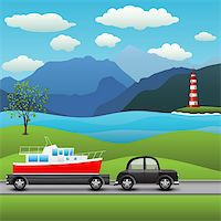 black car with a trailer and boat, on a background of sea and mountains Stock Photo - Royalty-Freenull, Code: 400-06074660