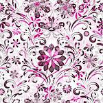 Pink and brown seamless pattern with transparent flowers (vector EPS 10) Stock Photo - Royalty-Free, Artist: OlgaDrozd                     , Code: 400-06074667