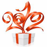 Vector gift box and red ribbon in the shape of 2012 Stock Photo - Royalty-Freenull, Code: 400-06075149