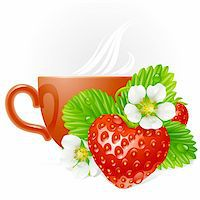 Vector strawberry in the shape of heart and white flowers Stock Photo - Royalty-Freenull, Code: 400-06075521
