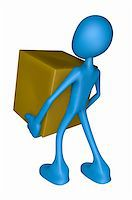 blue guy carries a crate - 3d illustration Stock Photo - Royalty-Freenull, Code: 400-06076113