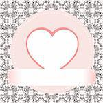 Valentine's day vector background - heart with ribbon Stock Photo - Royalty-Free, Artist: fotoscool                     , Code: 400-06076155