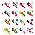 Soccer shoes in national flag colors at Europe 2012 Stock Photo - Royalty-Free, Artist: sahua                         , Code: 400-06077307