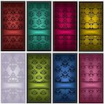 Illustration of different kind of cards with damask patterns Stock Photo - Royalty-Free, Artist: BarbaRie                      , Code: 400-06077648