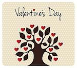 Tree silhouette with heart leaves shapes. Postcard background for Valentines day. Vector file available. Stock Photo - Royalty-Free, Artist: cienpiesnf                    , Code: 400-06078182