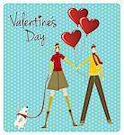 Couple and dog with heart balloons for Valentines day love greeting card background. Vector file available. Stock Photo - Royalty-Free, Artist: cienpiesnf                    , Code: 400-06078191