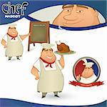 Vector chef - French restaurant mascot. Cartoon character with menu board, chicken and badge Stock Photo - Royalty-Free, Artist: mythja                        , Code: 400-06078209