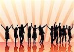 Vector image of young people. Dancing in nightclub