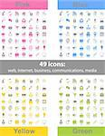 Set of 49 web icons in 4 different color variations Stock Photo - Royalty-Free, Artist: kumer                         , Code: 400-06078215