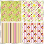 set of patterns with flower, stripe and shape Stock Photo - Royalty-Free, Artist: meikis                        , Code: 400-06078766