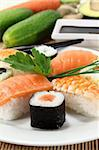 variety of sushi with parsley and chives Stock Photo - Royalty-Free, Artist: silencefoto                   , Code: 400-06078919