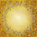 Old yellow paper with rays and gold vintage border Stock Photo - Royalty-Free, Artist: OlgaDrozd                     , Code: 400-06079082