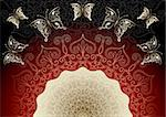 Black-red elegance frame with translucent pattern and gold butterflies (vector EPS 10) Stock Photo - Royalty-Free, Artist: OlgaDrozd                     , Code: 400-06079317