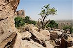 The Bandiagara Escarpment is an escarpment in the Dogon country of Mali.  The Dogon are best known for their mythology, their mask dances, wooden sculpture and their architecture. Stock Photo - Royalty-Free, Artist: michelealfieri                , Code: 400-06079843