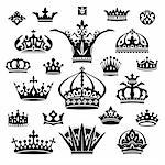 set of black different crowns vector illustration Stock Photo - Royalty-Free, Artist: SelenaMay                     , Code: 400-06080170
