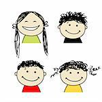 Smiling people icons for your design Stock Photo - Royalty-Free, Artist: Kudryashka                    , Code: 400-06080220