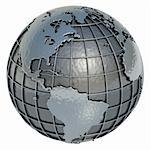The Planet Earth made of metal on a white background. Stock Photo - Royalty-Free, Artist: ktsimage                      , Code: 400-06080437