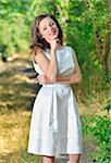 beauty girl in a fashioned dress in a forest Stock Photo - Royalty-Free, Artist: jordache                      , Code: 400-06080495