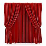 3d render of red curtain isolated at white background Stock Photo - Royalty-Free, Artist: kotist                        , Code: 400-06080646