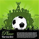 Soccer Poster with Winning Football Team with the Cup in his hands and Fans, vector illustration Stock Photo - Royalty-Free, Artist: TAlex                         , Code: 400-06081481