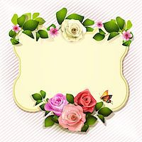 Mirror with roses and butterfly Stock Photo - Royalty-Freenull, Code: 400-06082391