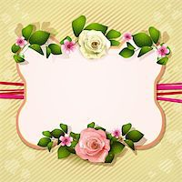 Mirror with white and pink roses Stock Photo - Royalty-Freenull, Code: 400-06082396