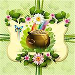 St. Patrick's Day card design with clover and coins Stock Photo - Royalty-Free, Artist: Merlinul                      , Code: 400-06082398