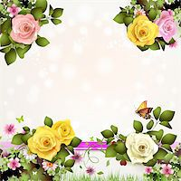 Springtime background with flowers and butterflies Stock Photo - Royalty-Freenull, Code: 400-06082403