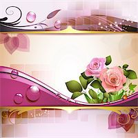 Background with roses and drops Stock Photo - Royalty-Freenull, Code: 400-06082406