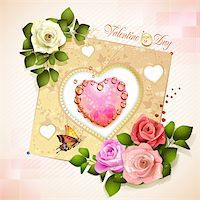 Valentine's day card. Decorated background with heart and roses Stock Photo - Royalty-Freenull, Code: 400-06082408
