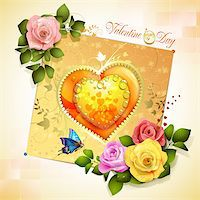 Valentine's day card. Decorated background with heart and roses Stock Photo - Royalty-Freenull, Code: 400-06082409