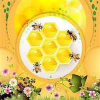 Bees and honeycomb over yellow background Stock Photo - Royalty-Freenull, Code: 400-06082411