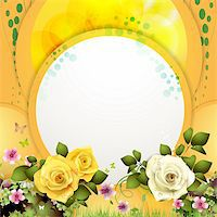 Yellow background with flowers and butterflies Stock Photo - Royalty-Freenull, Code: 400-06082412