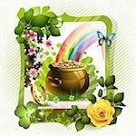 St. Patrick's Day card design with clover and coins Stock Photo - Royalty-Free, Artist: Merlinul                      , Code: 400-06082416