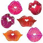Vector lip heart hole, print valentine kiss set, romantic background. Design element. Stock Photo - Royalty-Free, Artist: svetap                        , Code: 400-06082574